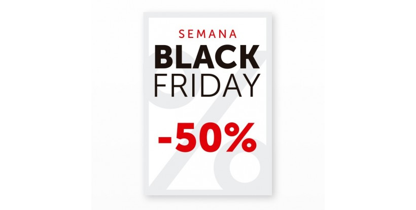 Cartel Black Friday 50% Blanco